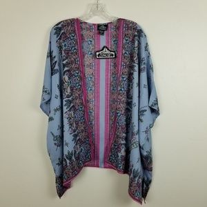 ANGIE - muted blue floral kimono coverup